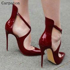 Vendita calda Donne Buckle Strap Tacco Alto scarpe A Punta Pompe Moda Femminile Tacco A Spillo Pompe Partito Diserbo Scarpe
