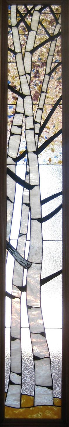 Front door sidelight (picture is cropped to show just the stained glass window.) stained glass birch