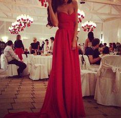 Design sleeveless chiffon red dress VG91111MN