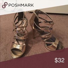 Metallic gold heels Michael Antonio metallic gold heels Size 9.  Never worn. Michael Antonio Shoes Platforms
