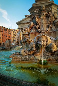 Pantheon fountain in front of the Pantheonin Rome ~ Italy ~ Lazio