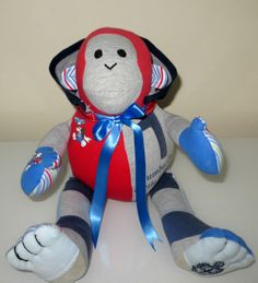 A cheeky monkey memory bear with a hoodie! This monkey was made from a little boys first clothing & is very precious. www.treasured-teds.co.uk