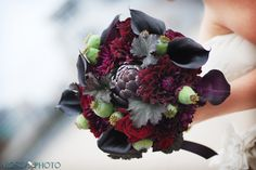 dark #CallaLilies and an Artichoke in this beautiful #wedding #bouquet