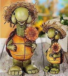 Lawn And Garden Ornaments | ... with Hats and Sunflowers Garden Pation Lawn Yard Statues | eBay
