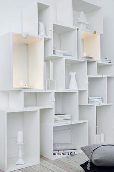 fresh. interior, white, bookcas, wall shelves, cube, wine boxes, crate, storage ideas, design