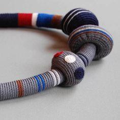 Striped crochet necklace