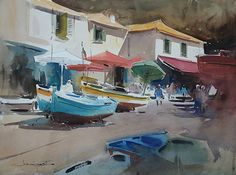 Fishing Port, Madeira ♥   © Eugen Chisnicean Watercolor ~ 45cm x 60cm