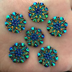 10pcs-18mm-AB-Resin-flower-Flat-back-Rhinestone-Wedding-2-Hole-buttons-diy-black