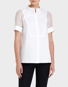 d35364605a78b0 White Italian Stretch Cotton Giovanna Shirt. Lafayette 148 New York