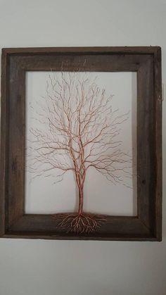 Copper wire tree. Wire art. Metal Art. Wall decor. Copper