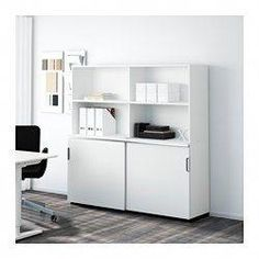 IKEA - GALANT, Storage combination w sliding doors, white, , Limited Warranty. Read about the terms in the Limited Warranty brochure. Small Office Furniture, Furniture Ideas, Tall Cabinet Storage, Locker Storage, Office Organisation, Studio Organization, Drawer Unit, Bedroom Storage, Diy Bedroom