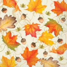 GOLD FALL LEAVES DINNER NAPKINS - 16 COUNT