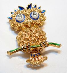 VINTAGE DESIGNER 18K YELLOW GOLD OWL BROOCH/PIN W ENAMEL & DIAMONDS - $15K Value | Jewelry & Watches, Vintage & Antique Jewelry, Fine | eBay!