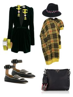 """""""Yellow"""" by kit92 ❤ liked on Polyvore featuring Yves Saint Laurent, Chanel, Hermès, Junya Watanabe, Maison Michel, Sergio Rossi and Valentino"""
