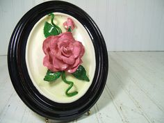 Vintage Ceramic Pink Roses Relief Framed Oval Wall Hanging - Shabby Cottage Chic Mauve 3 Dimensional Floral Art - Work Signed Claire Harris $38.00