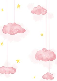 Pink Watercolor Clouds Cute Baby Background