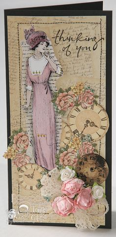 Psycho Moms Scrapbooks: Ladies' Diary Stamp painted with the Tim Holtz Distress Pens.