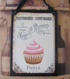 Cupcake Kitchen Decor Paris Bakery Sign French La by Artisanbella Bistro Kitchen Decor, Cupcake Kitchen Decor, French Kitchen Decor, Blue Kitchen Decor, Cupcake Bakery, Kitchen Cabinets Decor, Kitchen Decor Themes, Vintage Kitchen Decor, Boho Kitchen