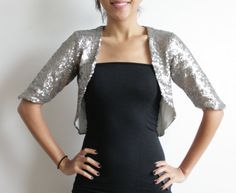 If it gets cold later...Silver Sequin Bolero Wedding Coverup Cardigan Cropped by Kulayan
