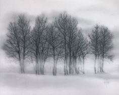 Winter Trees - TERRI HEINRICHS - charcoal graphite and pastel layered original art