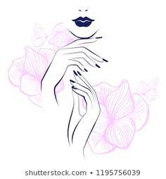 Red lips, hand with red manicure nails. Beauty Logo, nails art. Vector illustration, diadem flowers, butterflies, floral motive, abstract flowers, spa salon, sign, symbol, nails studio. Nail Salon Design, Nail Logo, Nail Drawing, Globe Logo, Makeup Artist Logo, Visiting Card Design, Red Manicure, Beauty Salon Logo, Nail Art Studio
