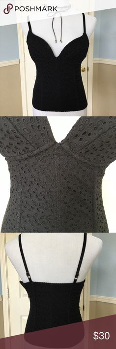 Bebe Bustier Top Worn Once. Form fitting. Zip on the side. Deep V neck top. No low ball offers bebe Tops Crop Tops
