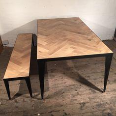 Solid Oak Herringbone Dining Table with by VampIndustries on Etsy