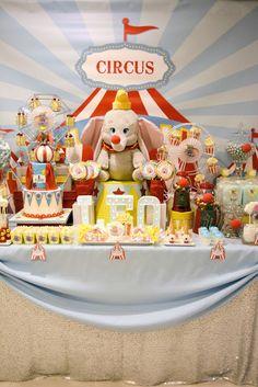 Dumbo Circus First Birthday Party dessert table #dumbobirthday