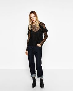 ZARA - WOMAN - FRILLED BLONDE LACE TOP