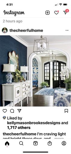 Blue And White Living Room, Great Rooms, Buffet, Cabinet, Storage, Furniture, Home Decor, Mood, Ideas