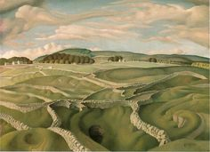 'Derbyshire Walls', tempera on canvas by Harry Epworth Allen, 1930s