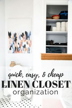 Great tips on organizing your linen closet on a budget. So many great ideas using items you can find at the Dollar Store - you'll have so much more storage once you're done! Linen Closet Organization, Home Office Organization, Organizing, Home Projects, Home Crafts, Diy Home Decor, Cheap Linens, Blogger Home, Diy On A Budget