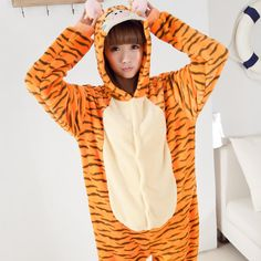 Flannel family animal pajamas one piece onsies onesies cosplay tigrou tigrao disfraz tigger onesie pijamas enteros de animales