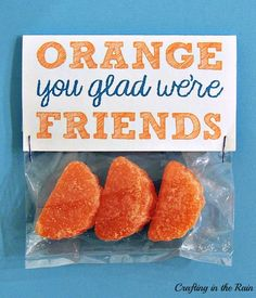 "Crafting in the Rain: ""Orange You Glad"" Valentines - With Valentine's Day around the corner, why not show your friends some love with this lovely and creative handmade gift to show them you're thinking about them. Show us on vive how yours turns out!"