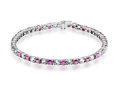 10 ct Pink and White Sapphire Tennis Bracelet in Sterling Silver from Jewelry.com.  A classic tennis bracelet is a style ace with the addition of richly-hued gemstones! Alternating round-cut created pink and white sapphires totaling 10 3/4 ct are set in sleek links crafted in sterling silver.