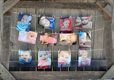 Take your favorite picture from each month and display at the first birthday party using twine and mini clothespins. #first #birthday