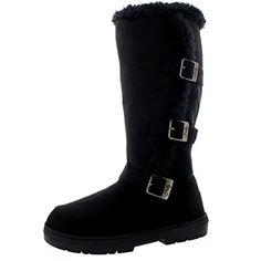 Womens Tall Three Buckle Fur Lined Waterproof Winter Rain Snow Boots Inside Zip  Black  US8EU39  BA0470 ** Learn more by visiting the image link.(This is an Amazon affiliate link and I receive a commission for the sales)