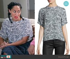 Rainbow's komondor dog print top on Black-ish.  Outfit Details: https://wornontv.net/57186/ #Blackish