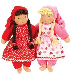 The Kathe Kruse Sweetheart Toddler Doll is made of all-natural cotton and wool fabrics that are soft to the touch. Patterned dresses in pink or red, long braided hair and rosy cheeks • Handmade in Germany, these high-quality and durable toddler dolls can withstand years of love from one child to the next • Be gentle toddler dolls are easy to clean with removable clothing that can go right in the washing machine • Made 13 inches tall for children aged 12 months and older