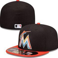 bb5e754f9ab53 Miami Marlins New Era MLB Diamond Tech 5950 Fitted Hat (Black)