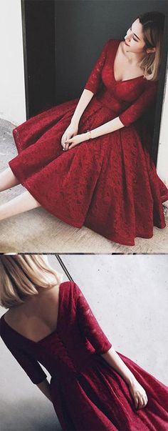 Burgundy homecoming dresses,v neck homecoming dresses,long sleeves homecoming dress,knee length homecoming dresses,short prom dresses,prom gowns,party gowns,cute dresses
