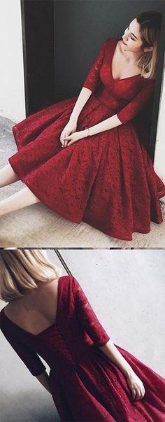 21 Ideas for wedding dresses short skirt tea length Long Sleeve Homecoming Dresses, Burgundy Homecoming Dresses, Dresses Short, Knee Length Dresses, Trendy Dresses, Cute Dresses, Beautiful Dresses, Casual Dresses, Prom Dresses