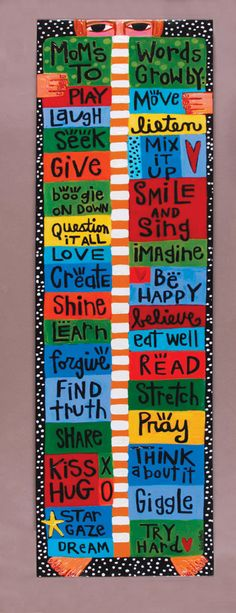 Mom's Words To Grow By -Growth Chart- CANVAS. $130.00, via Etsy.