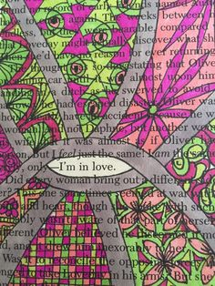 Original Drawing on Book Page – I'm In Love - Valentine Gift for Book Lover – Book Art