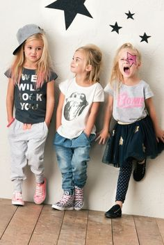 """It's science, kids are cooler when you dress them like a rock star! We are loving this Queen inspired """"We Will Rock You"""" shirt, The Rolling Stones logo shirt, and a David Bowie shirt on these three kiddos! Little Girl Outfits, Little Girl Fashion, Toddler Fashion, Kids Fashion, Outfits Niños, Kids Outfits, Trendy Outfits, Fashion Moda, Look Fashion"""