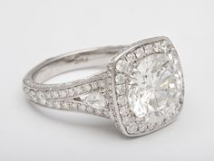 Outstanding Round Brilliant Engagement Ring GIA | From a unique collection of vintage engagement rings at http://www.1stdibs.com/jewelry/rings/engagement-rings/