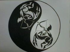 tribal Sagittarius ying-yang tattoo design by Gwen N.