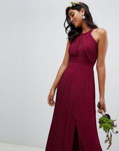 ebb0aa26ee1 TFNC pleated bridesmaids maxi dress in burgundy