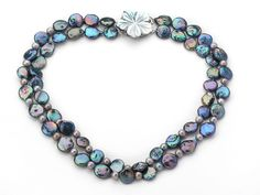 Two Strands Black with Colorful Coin Pearl Necklace with Gray Round Pearl Beads--Aypearl.com