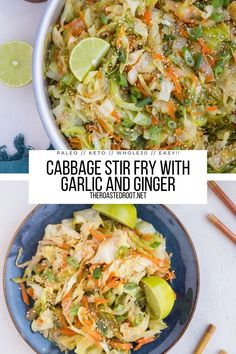 Cabbage Stir Fry (Keto, Paleo, Whole30) - Cabbage stir fry recipe with carrots, ginger, garlic, onions, liquid aminos and more! Low-carb, grain-free, vegan, healthy, easy and delicious! #paleo #keto #lowcarb #whole30 #cabbage #stirfry #healthyrecipe #sidedish